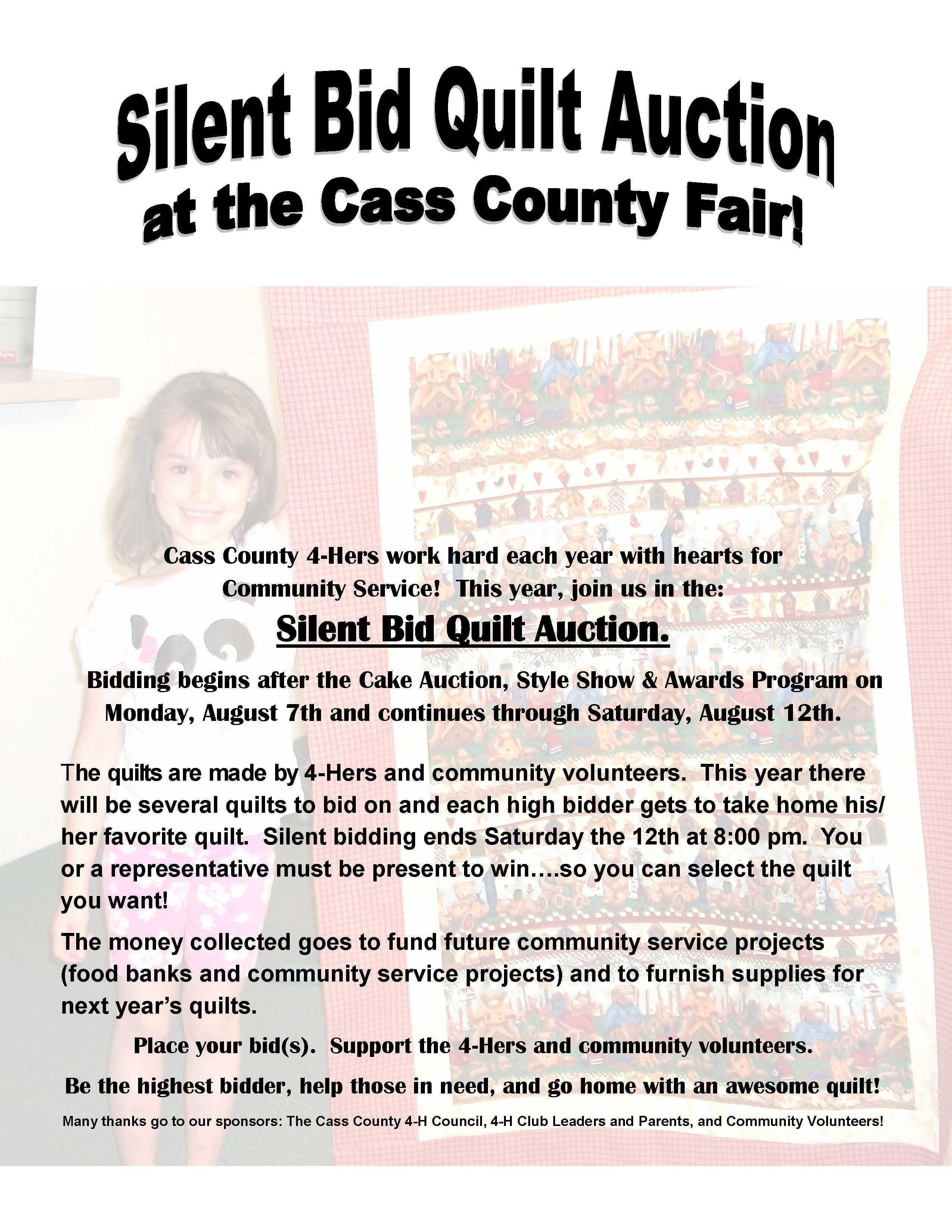 2017 flyer for Community Serivce Silent Quilt Auction1462