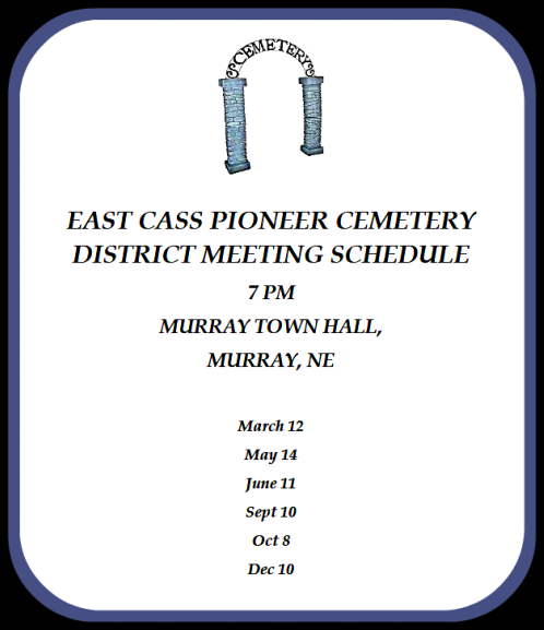 2018 03 07 EAST CASS PIONEERCEMETERY DISTRICT MEETING SCHEDULE4174
